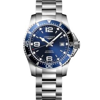 【LONGINES】浪琴 征服者300米潛水64小時動力儲存機械錶-藍/41mm(L37424966)