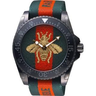 【GUCCI】古馳 Dive 蜜蜂200米潛水錶-紅綠/45mm(YA136216)