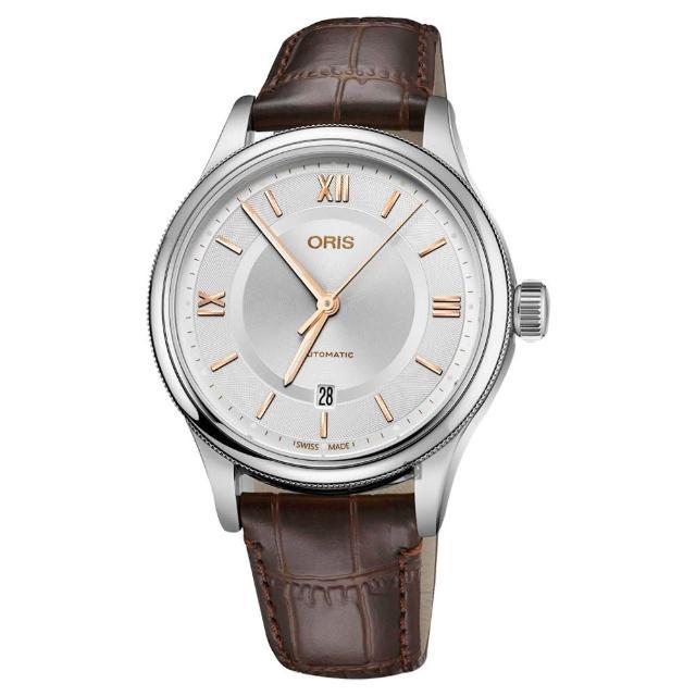 【ORIS】豪利時 Classic 文化系列日期機械錶-銀x咖啡錶帶/42mm(0173377194071-0752032)