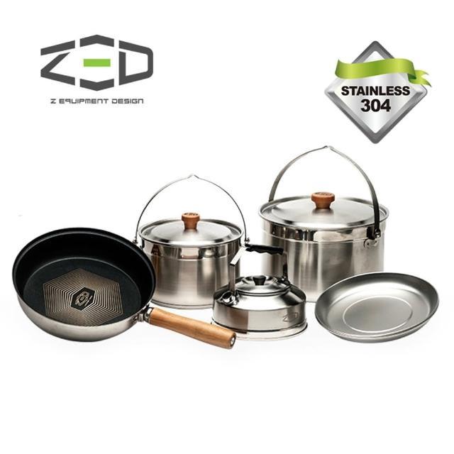 【ZED】户外两人不锈钢锅具组II M ZBACK0303(304不?钢、三层式锅面、钻石涂层、附赠收纳袋)