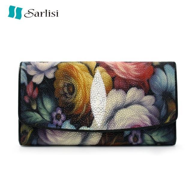 【Sarlisi】泰國珍珠魚皮真皮手拿3折長夾(珍珠魚皮-玫瑰)