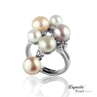 【大東山珠寶】燦爛時光 晶鑽珍珠戒指(天然淡水珍珠甜美雙色系)