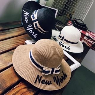 【米蘭精品】草帽防曬遮陽帽(蝴蝶結NEW YORK字母戶外出遊沙灘女帽子6色73eq16)