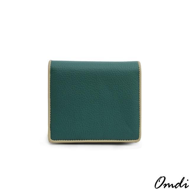 【Omdi】頭層牛皮荔枝紋短夾(綠色)
