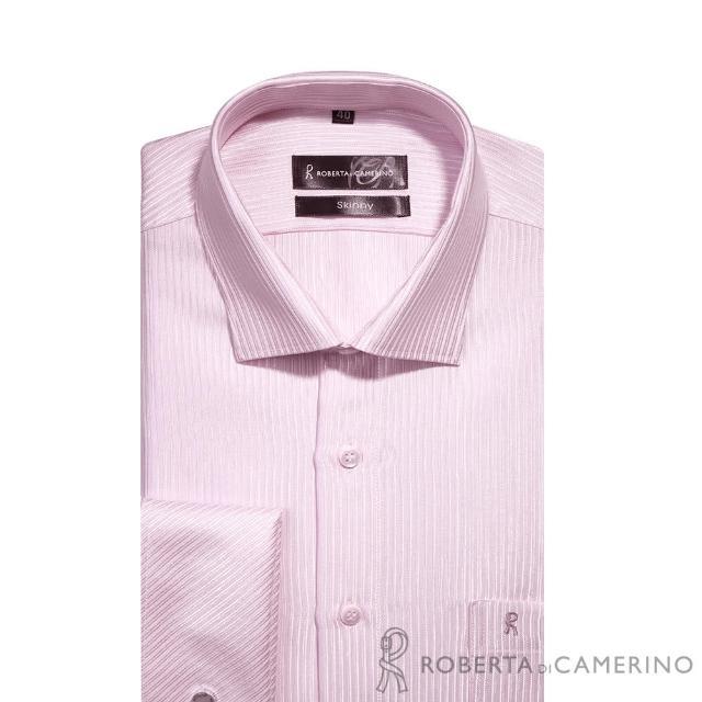 【ROBERTA諾貝達】台灣製 合身版 不易起皺 速乾法式袖扣長袖襯衫(粉紅)