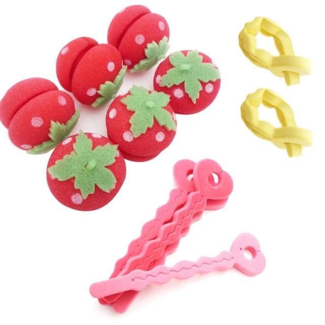 【kiret】軟式草莓髮捲球+愛心海綿空氣感髮捲-捲髮造型組