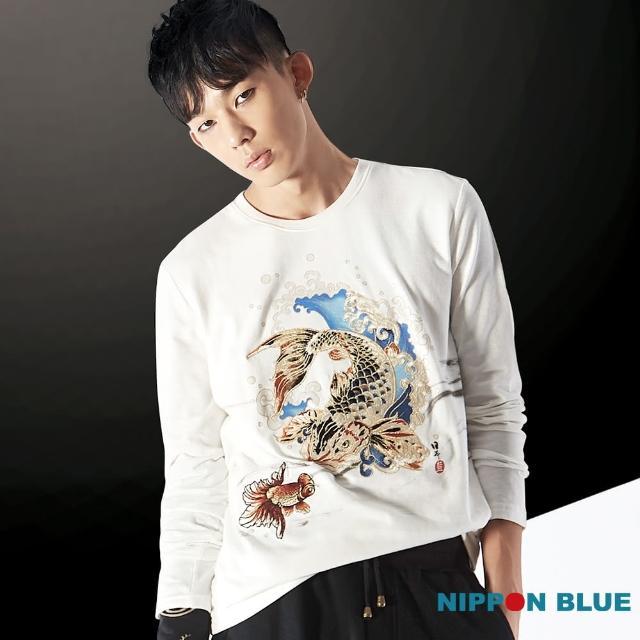 【BLUEWAY-日本藍】精繡系列金鯉長袖T恤