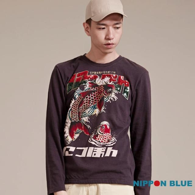 【BLUEWAY-日本藍】金標鯉魚亮片長袖T恤
