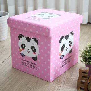 【EASY HOME】繽紛耐重摺疊收納椅凳(粉紅貓熊)