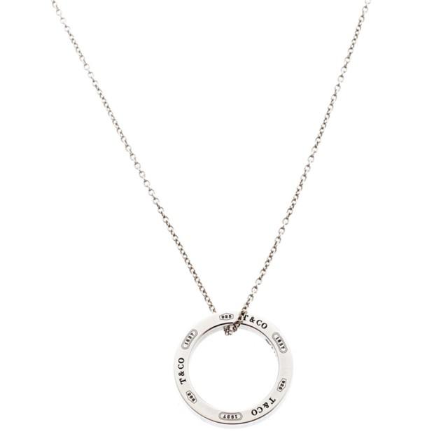 【Tiffany&Co.】1837 經典簡約刻字圓環純銀項鍊