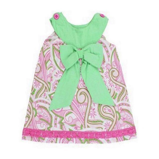 【美國 RuffleButts】寶寶/兒童洋裝 粉綠花園大蝴蝶結(RBD04)