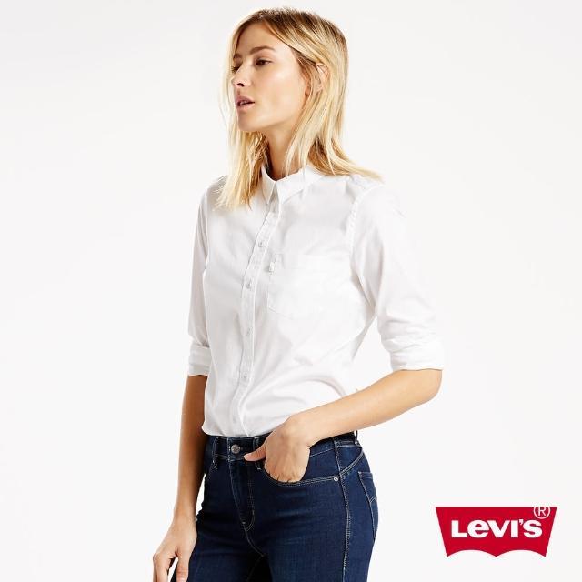 【Levis】女款長袖襯衫 / 延續款 / 白