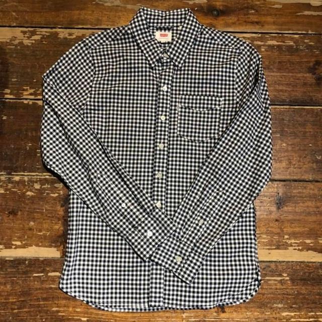 【Levis】男款長袖襯衫 / 格紋 / 雙布拼接 / 藍