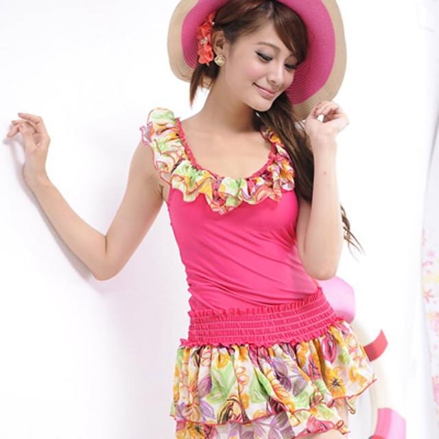 【Lady c.c.】花樣蛋糕顯瘦洋裝兩件套泳裝(桃)