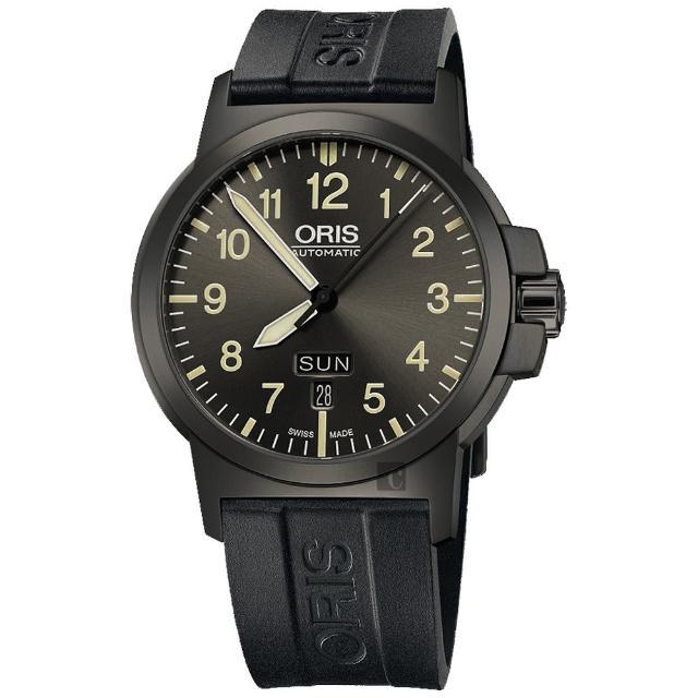【ORIS】豪利時 BC3 Advanced 日曆星期機械腕錶-鐵灰x黑/42mm(0173576414263-0742205G)