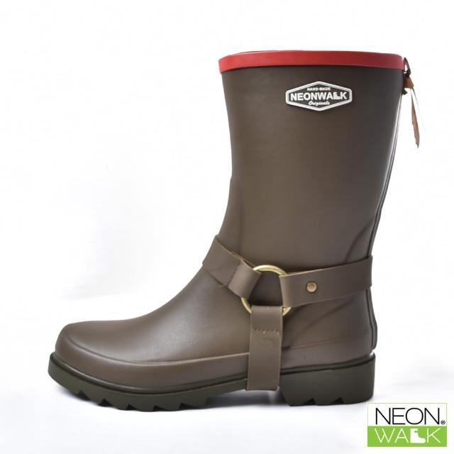 【Neon Walk 尼沃】中筒側扣靴-卡其色(雨鞋 雨靴 長筒雨靴 中筒靴 高筒靴 neonwalk)
