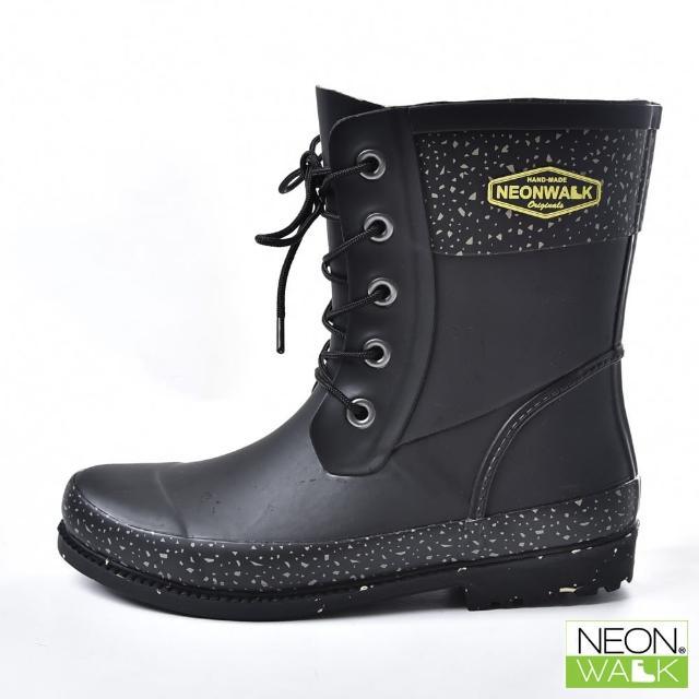 【Neon Walk 尼沃】雪花馬丁中筒-黑色(雨鞋 雨靴 長筒雨靴 中筒靴 高筒靴 neonwalk)