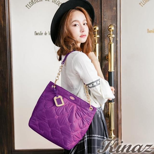 【KINAZ】复古女伶两用链带斜背包-优雅紫-气球系列