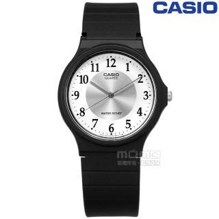 【CASIO 卡西歐】卡西歐復古新味簡潔復刻雙圈橡膠手錶 銀白x黑 35mm(MQ-24-7B3)