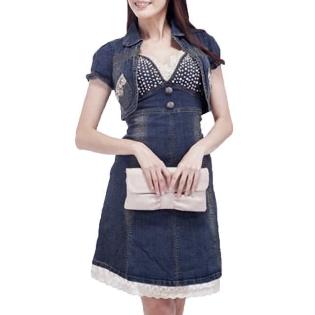 【RH】名媛時尚鑽珠蕾絲丹寧洋裝(牛仔洋裝最後到貨不含外套)
