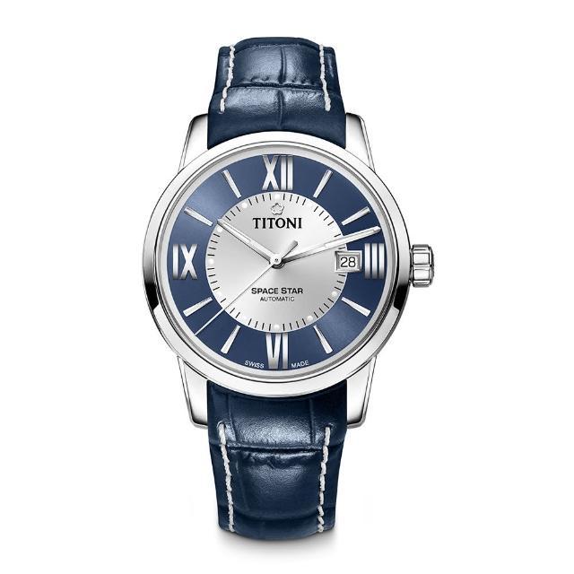 TITONI瑞士梅花錶 天星系列(83538 S-ST-580)-藍+銀/皮錶帶/40mm