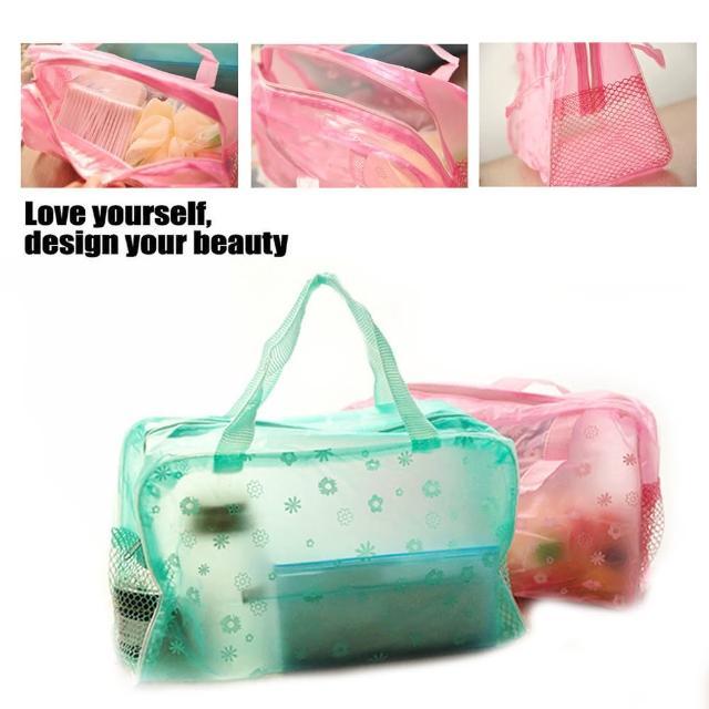【kiret】田園碎花 透明防水收納袋-2入(旅遊必備 化妝包 盥洗袋 沐浴用品收納袋)