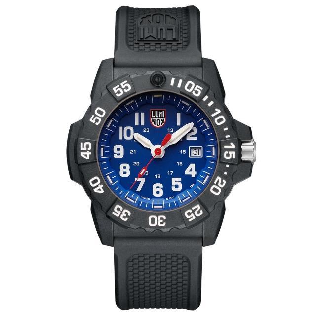 【LUMINOX 雷明時】NAVY SEAL 3500全新海豹2代系列腕錶-藍x白時標(45mm)