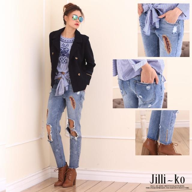 【JILLI-KO歐美設計-中大尺碼】羽毛刷破牛仔褲(藍)