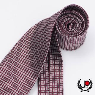 【極品西服】義式Teflon防潑水100%絲格紋領帶_ 棗紅灰細格(YT5033)