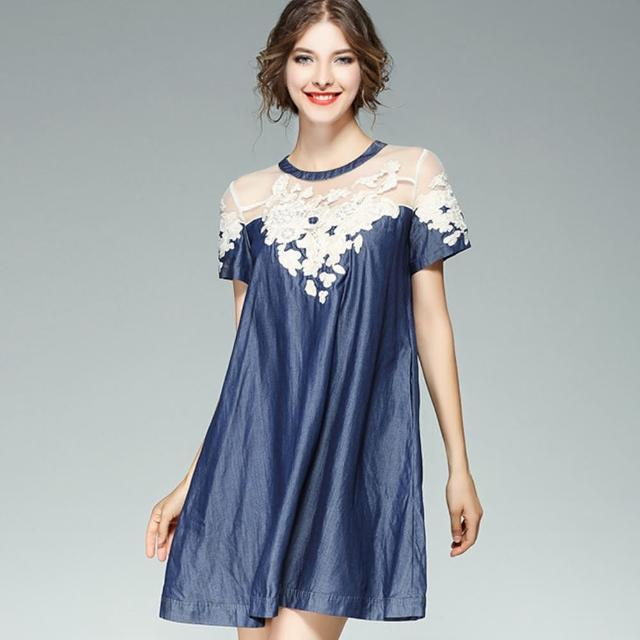【ABELLA 艾貝拉】透膚立體釘珠雕花單寧面料寬鬆洋裝(S-5XL)