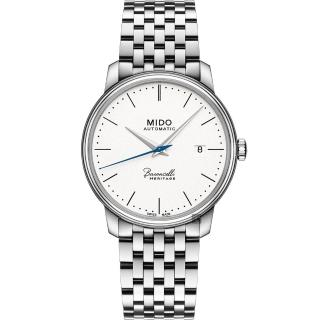 【MIDO】美度 Baroncelli 永恆系列復刻超薄機械錶-白x銀/39mm(M0274071101000)