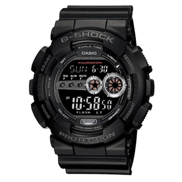 【CASIO】G-SHOCK 強悍菱格壓紋造型錶-黑(GD-100-1B)