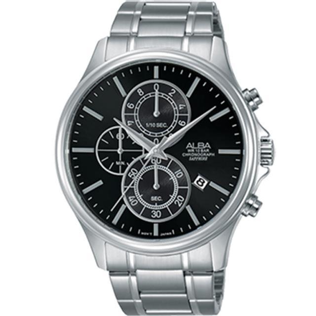 【ALBA 雅柏】台灣限定款 三眼計時不鏽鋼時尚腕錶(43mm/AM3465X1/VD57-X107D)