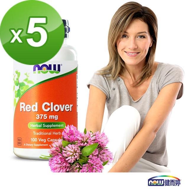 【NOW健而婷】紅花苜蓿-頂級植物異黃酮-100顆/瓶(5瓶組)