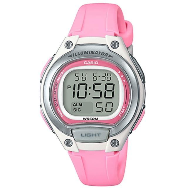 【CASIO】10年電力經典輕巧便利好戴運動電子錶-粉x銀(LW-203-4A)