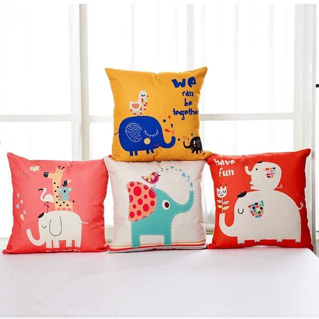 【BELLE VIE】大象派對 卡通風棉麻抱枕 多款任選(45cm×45cm)