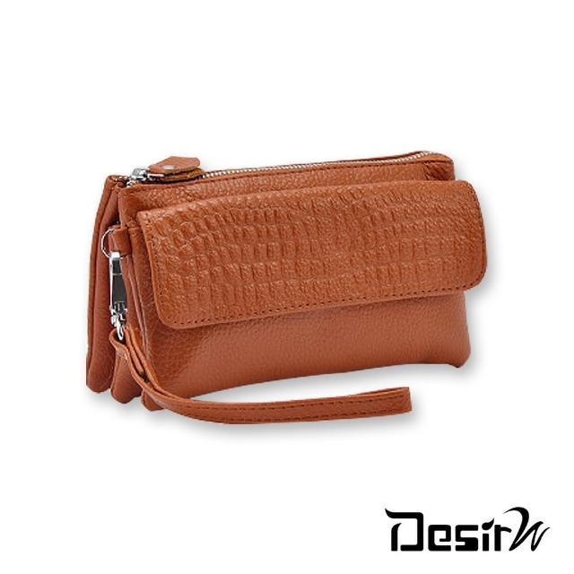 【DesirW】時尚真皮鱷魚紋手拿包斜背包錢包側背包(6色)