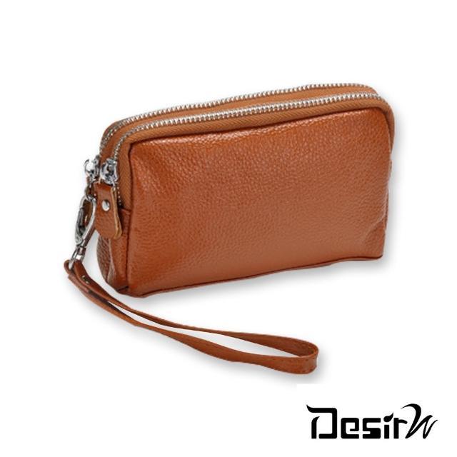 【DesirW】真皮荔枝紋雙拉鍊錢包手拿包(6色)