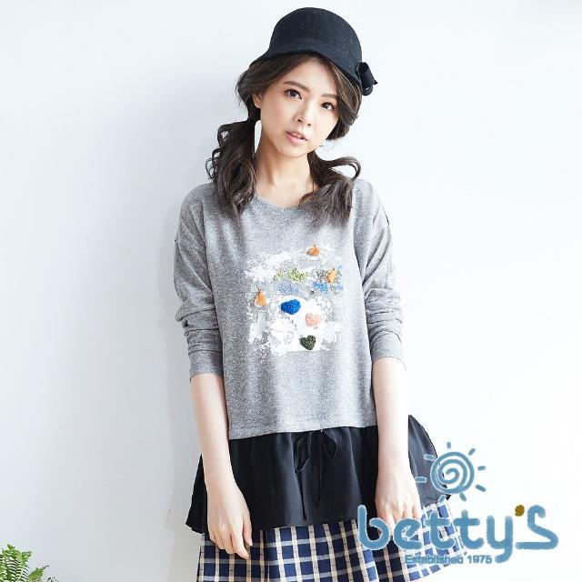 【betty's貝蒂思】甜蜜花卉拼接雪紡假兩件式針織衫(灰色)