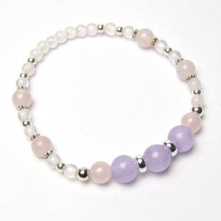 【LuckyPlus】6mm天然紫粉雙色好運純銀手環(可選手圍尺寸)
