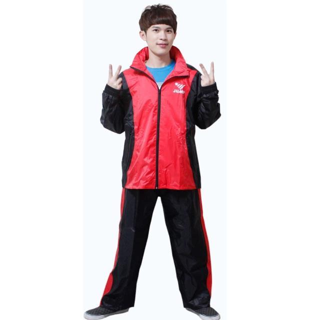 【JUMP】新二代挺酷套裝休閒風雨衣-黑紅+通用鞋套