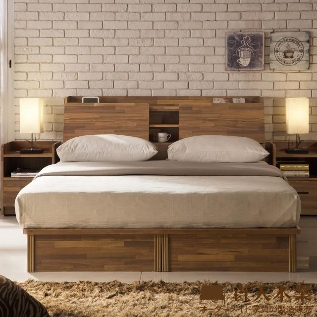 【日本直人木業家具】INDUSTRY積層木3.5尺雙人抽屜床組--床底有2個收納抽屜