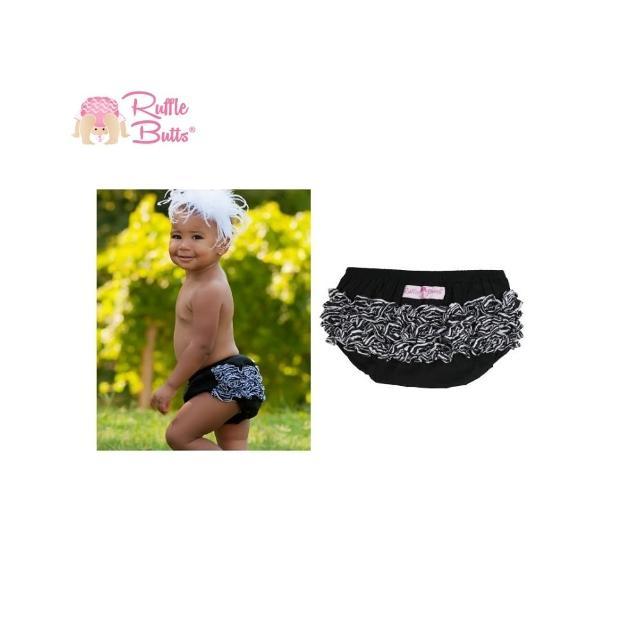 【美國 RuffleButts】小女童荷葉屁屁褲/包屁褲_黑色/斑馬紋(RBRBW011)