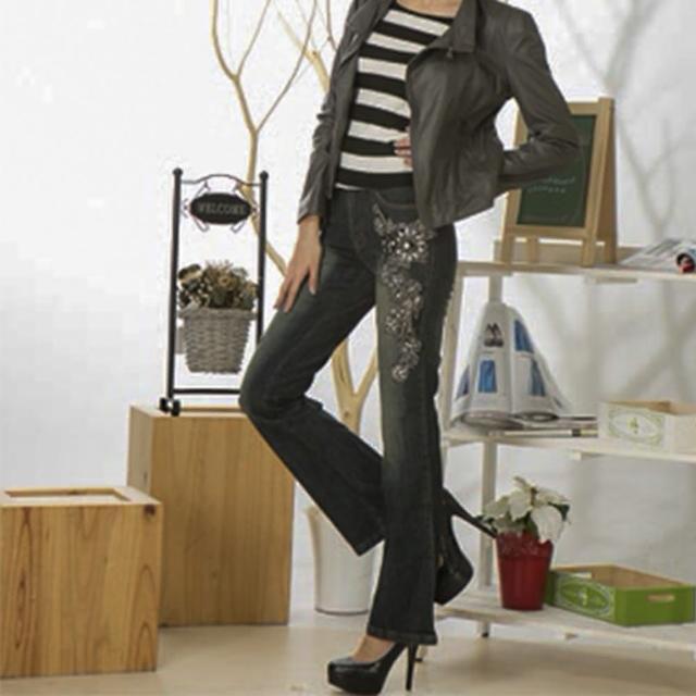 【RH】歐系立體繡珠造型小喇叭牛仔長褲(修身黑灰)