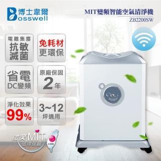 【博士韋爾BOSSWELL】3-12坪 WIFI雙重電離 抗敏除菌空氣清淨機 ZB2200SW(可水洗 終身免耗材)