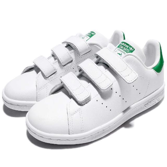 【adidas】休閒鞋 Stan Smith CF  童鞋 愛迪達 史密斯 魔鬼氈 皮革 舒適 白 綠(M20607)