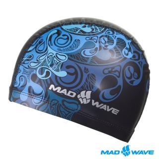 【俄羅斯MADWAVE】俄羅斯MADWAVE WAVE 成人PU泳帽(PU藍紋泳帽)