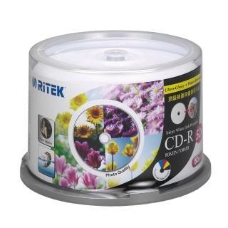 【錸德 Ritek】CD-R 700MB 52X 頂級鏡面相片防水可列印式光碟(5760dpi/防水抗溼 X 50P布丁桶)