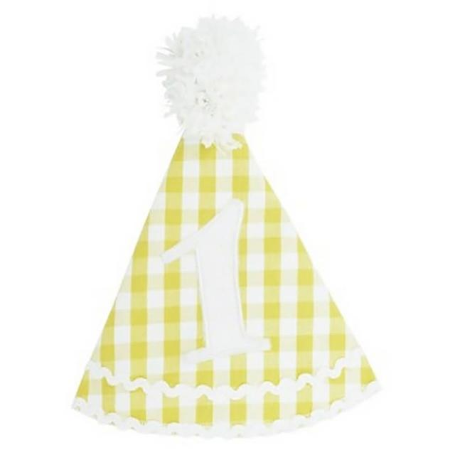 【美國 RuffleButts】寶寶/兒童生日帽 黃色格子(RBBH04)