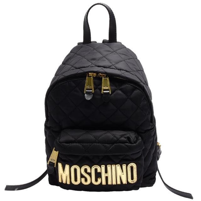 【MOSCHINO】菱格紋縫線金色LOGO尼龍後背包(小-黑7B7608-8201-2555)